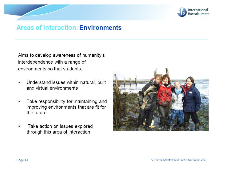 Areas of interaction: Environments