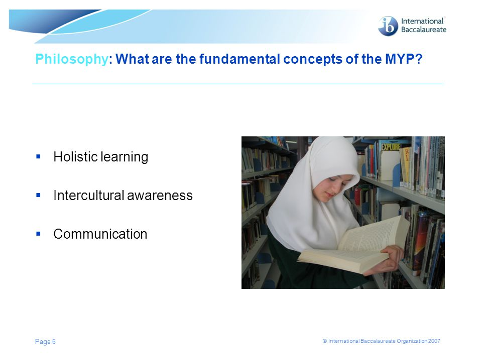 Philosophy: What are the fundamental concepts of the MYP
