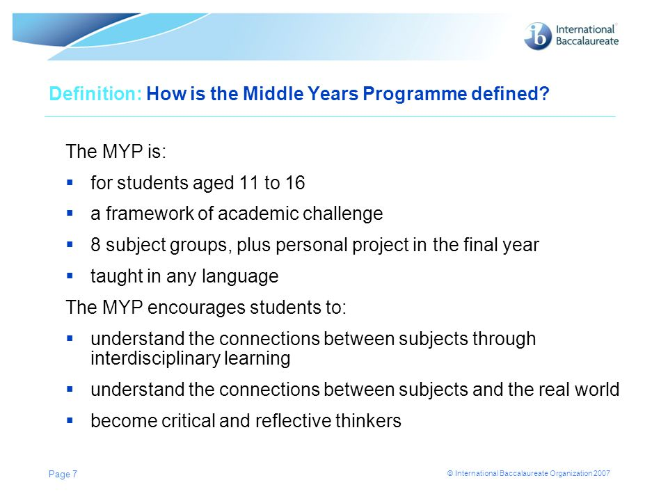 Definition: How is the Middle Years Programme defined