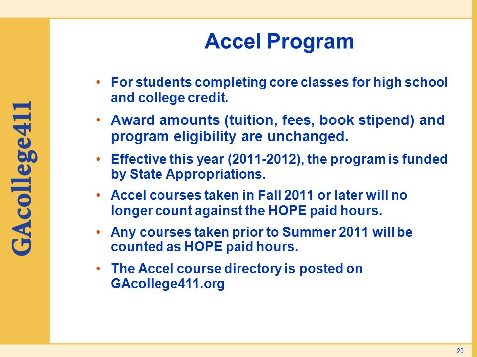 Accel Program For students completing core classes for high school and college credit.