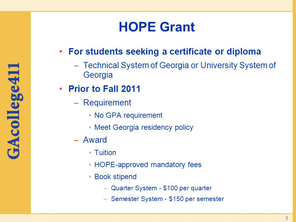 HOPE Grant For students seeking a certificate or diploma