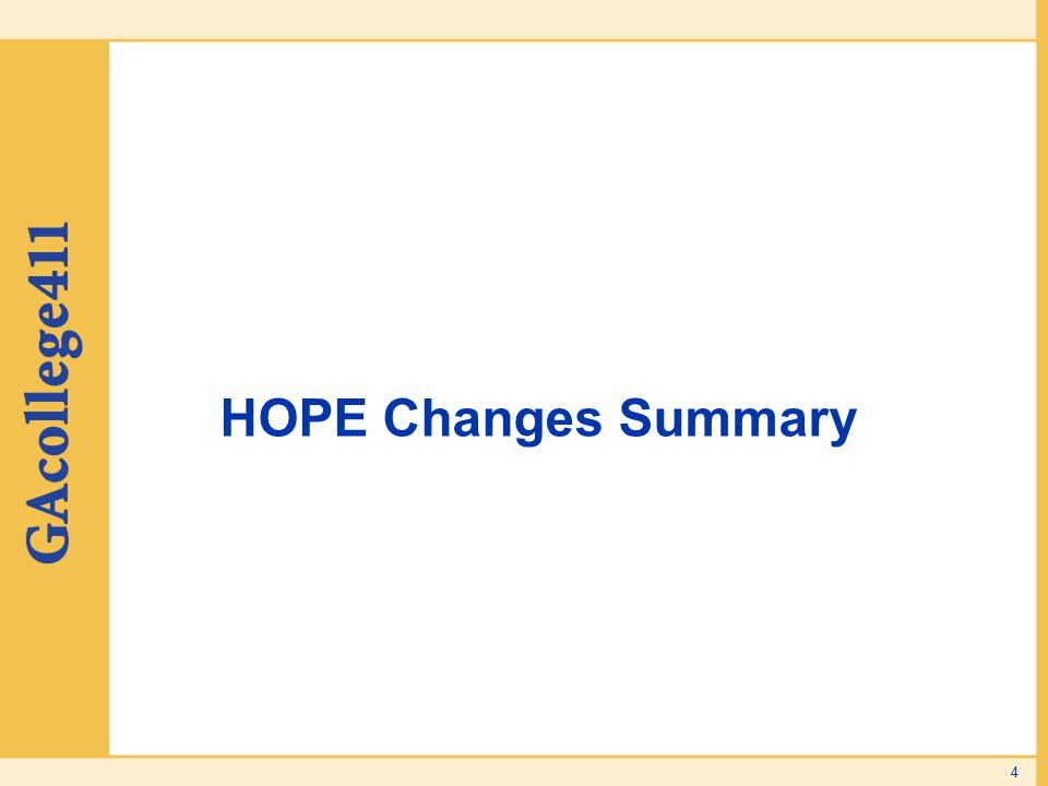 HOPE Changes Summary