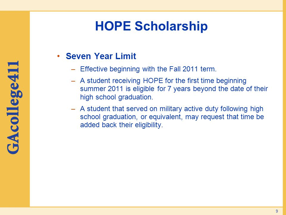 HOPE Scholarship Seven Year Limit