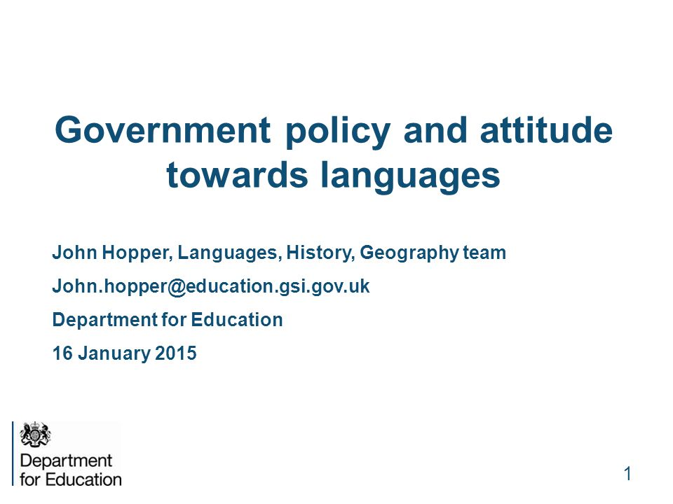 Government policy and attitude towards languages
