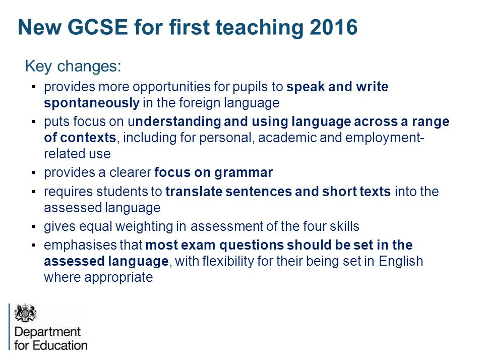New GCSE for first teaching 2016