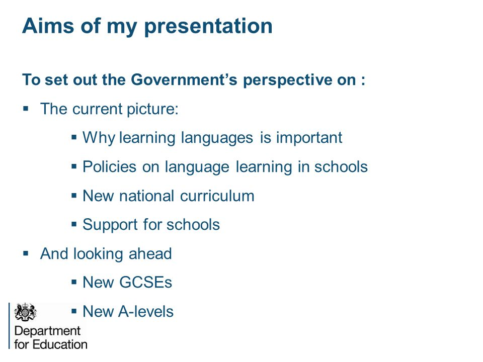 Aims of my presentation