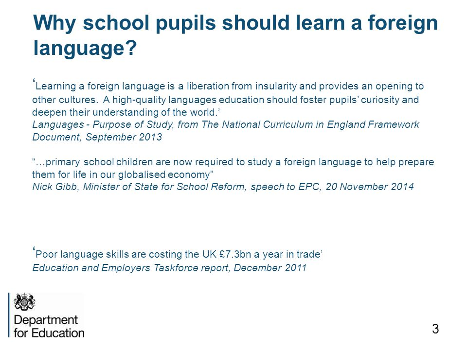 Why school pupils should learn a foreign language
