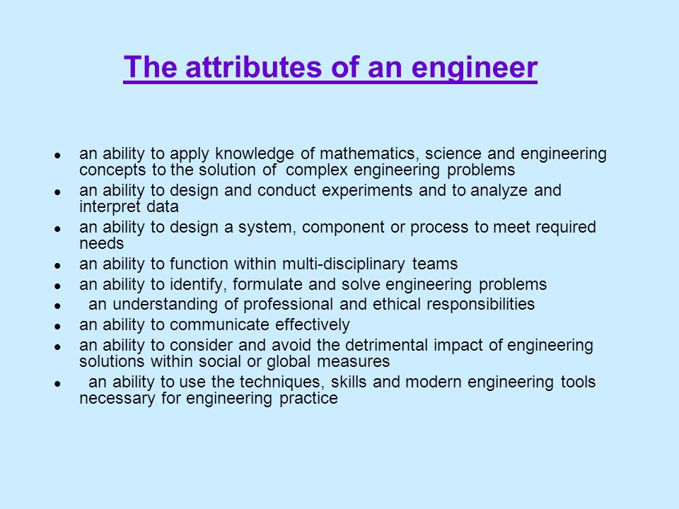 The attributes of an engineer
