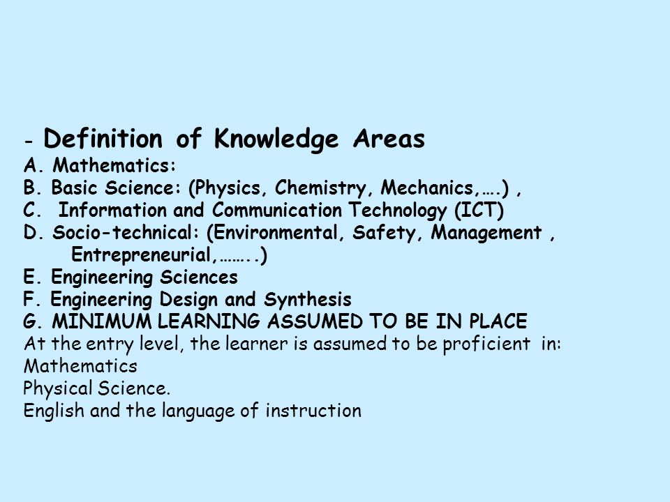 - Definition of Knowledge Areas