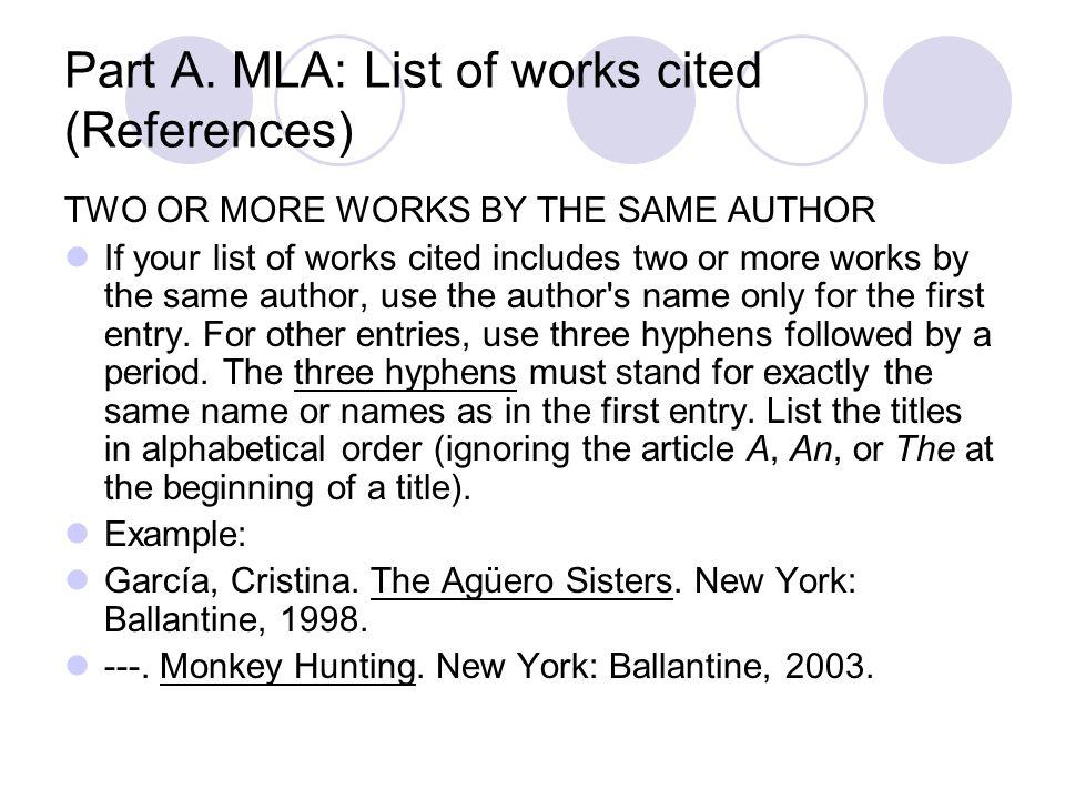 works cited multiple authors mla