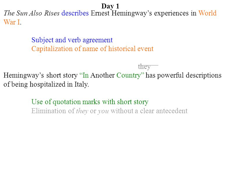 Day 1 The Sun Also Rises describes Ernest Hemingway's experiences in World War I. Subject and verb agreement.