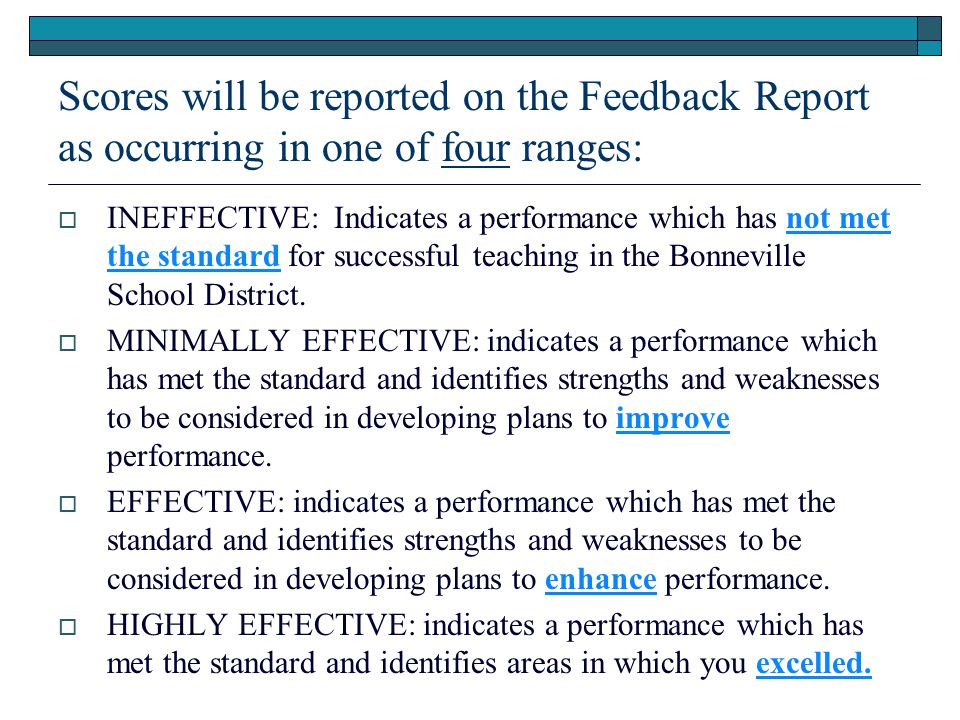 Scores will be reported on the Feedback Report as occurring in one of four ranges: