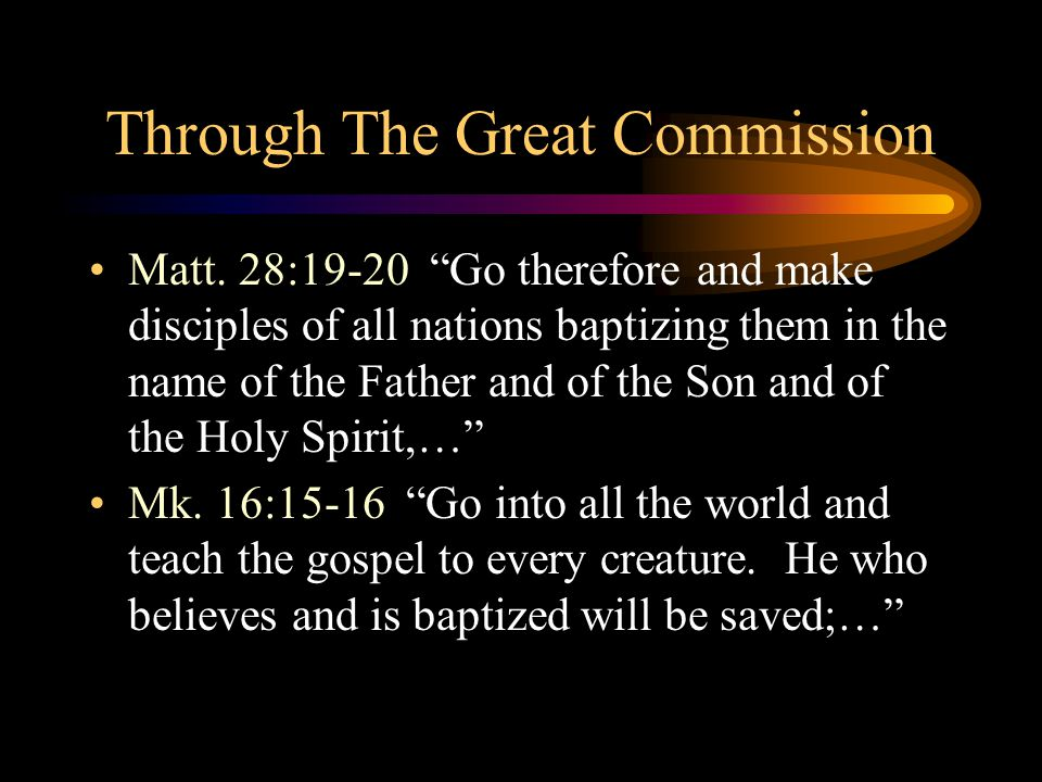 Through The Great Commission