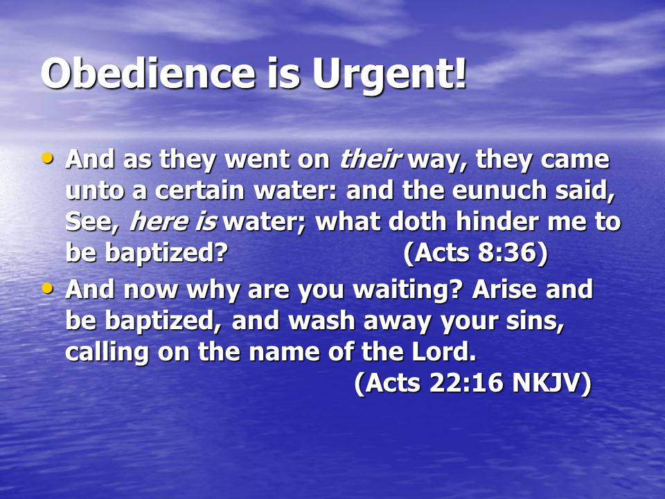 Obedience is Urgent!