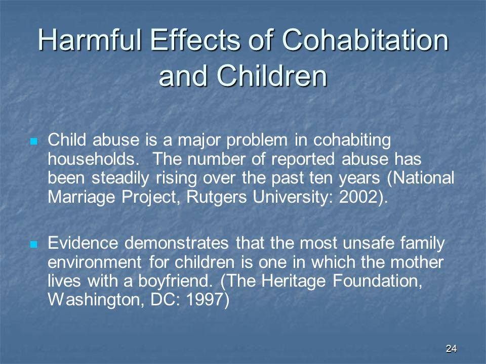 Negative effects of cohabitation