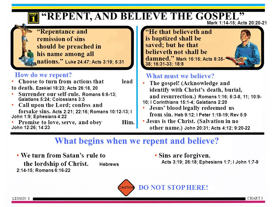 What begins when we repent and believe