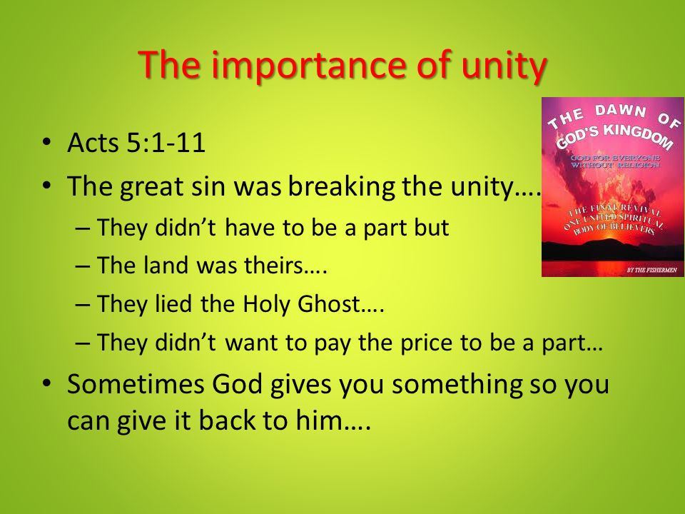 The importance of unity