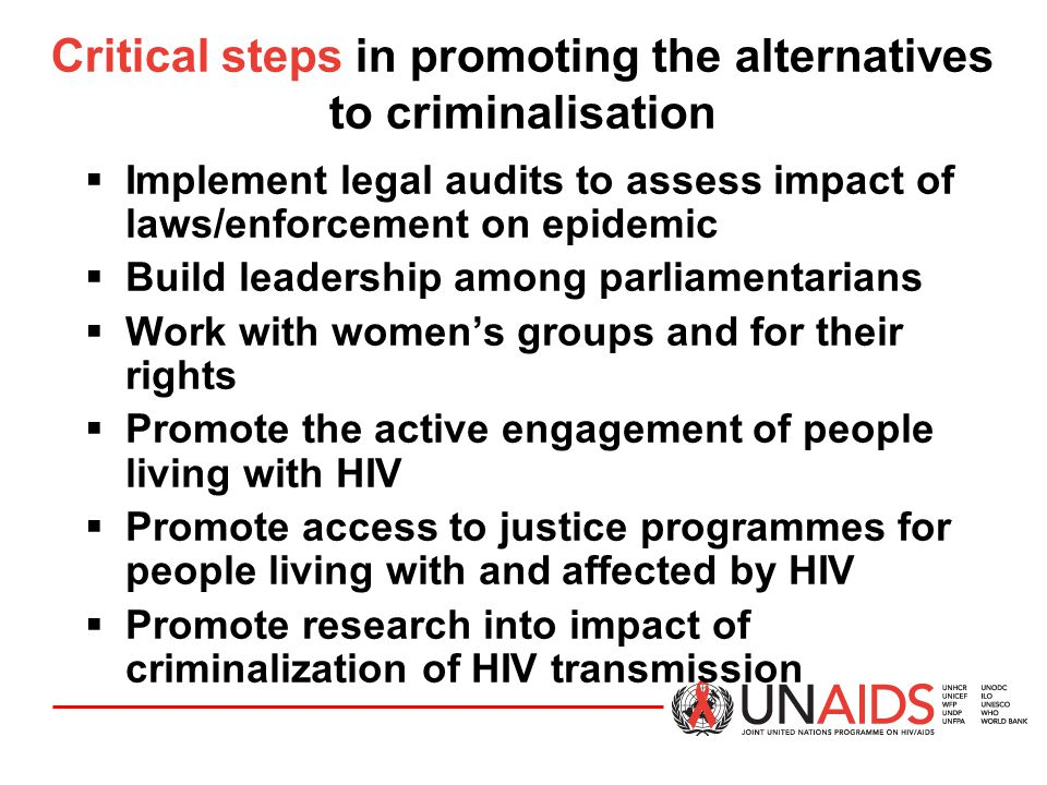 Critical steps in promoting the alternatives to criminalisation