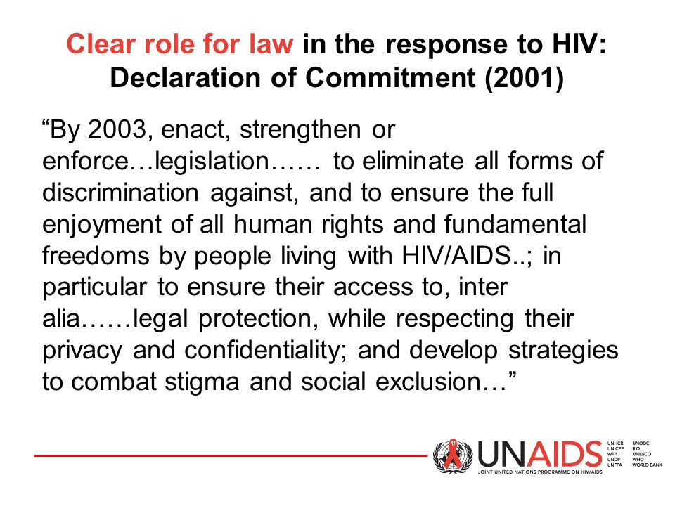 Clear role for law in the response to HIV: Declaration of Commitment (2001)