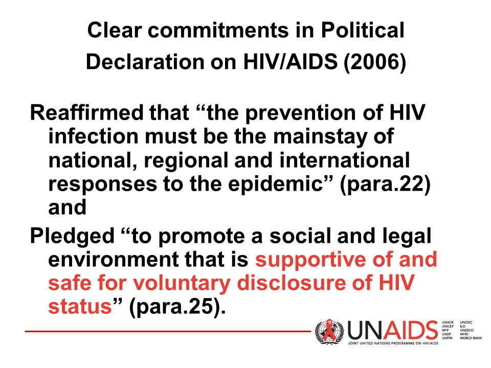 Clear commitments in Political Declaration on HIV/AIDS (2006)