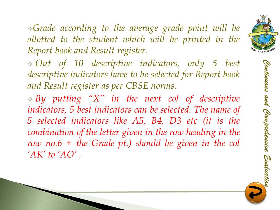 Grade according to the average grade point will be allotted to the student which will be printed in the Report book and Result register.