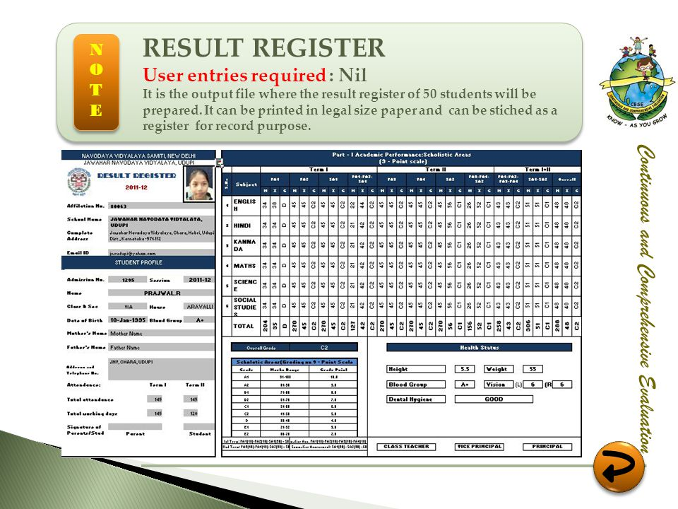 RESULT REGISTER Continuous and Comprehensive Evaluation