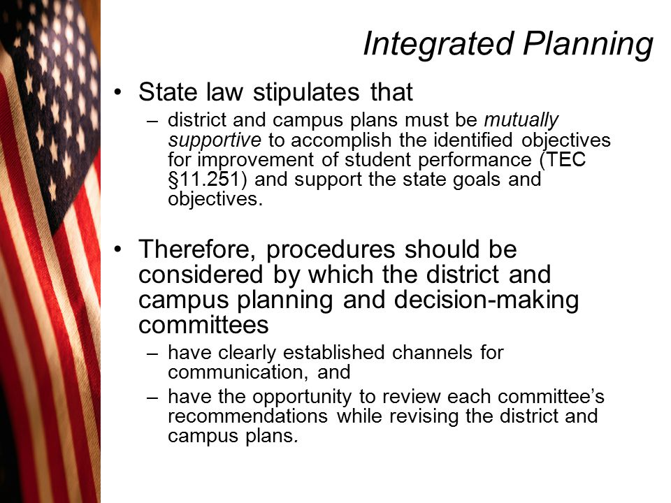 Integrated Planning State law stipulates that