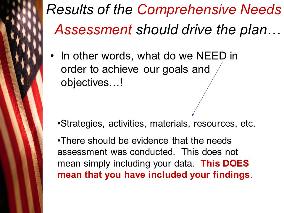 Results of the Comprehensive Needs Assessment should drive the plan…