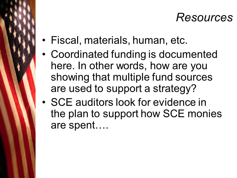 Resources Fiscal, materials, human, etc.