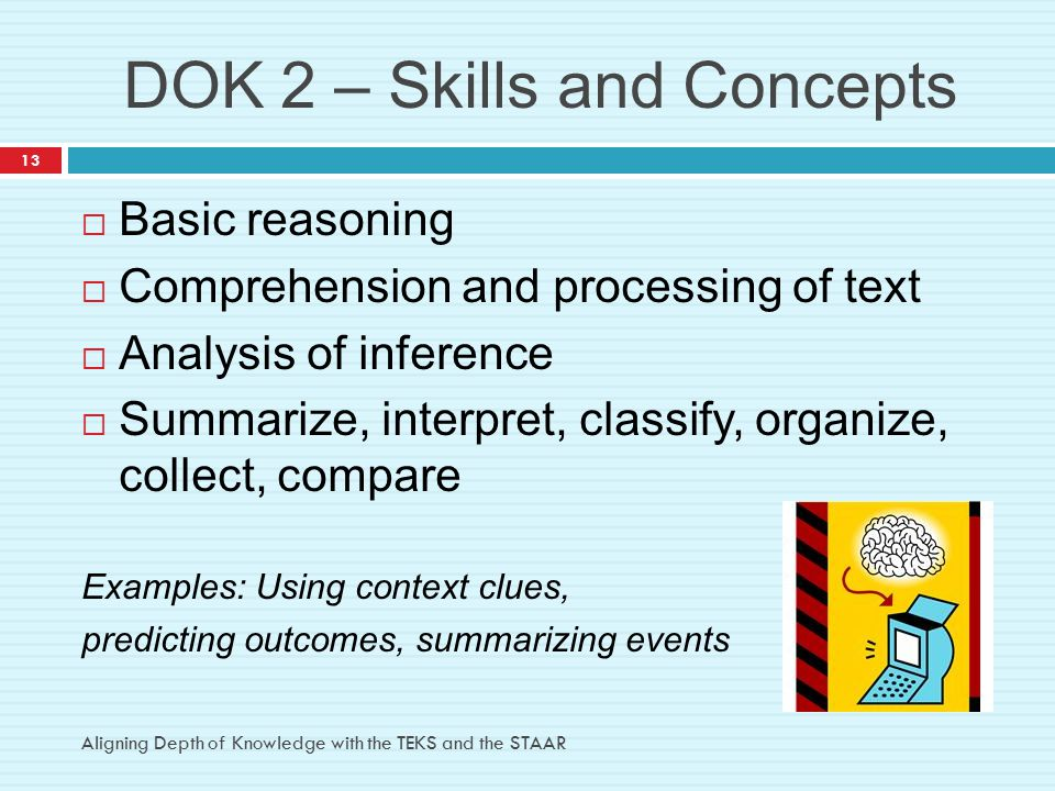 DOK 2 – Skills and Concepts