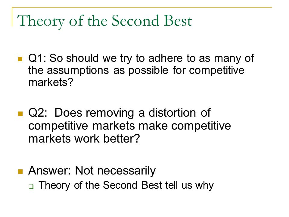 Theory of the Second Best