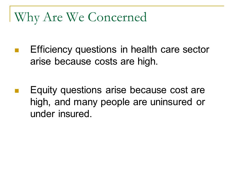 Why Are We Concerned Efficiency questions in health care sector arise because costs are high.