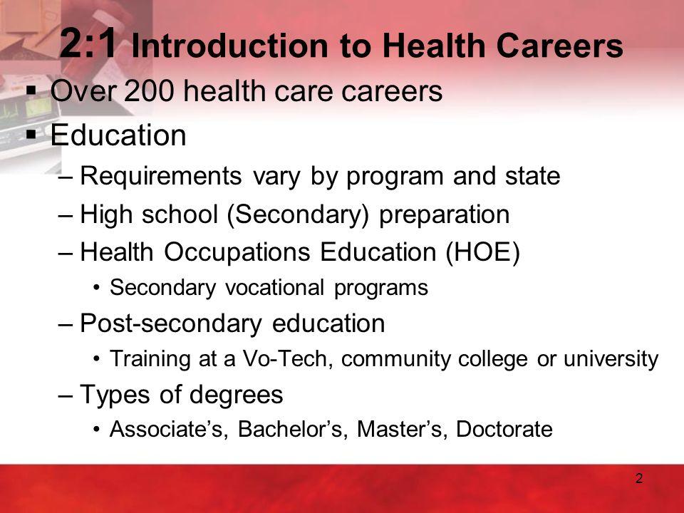 2:1 Introduction to Health Careers
