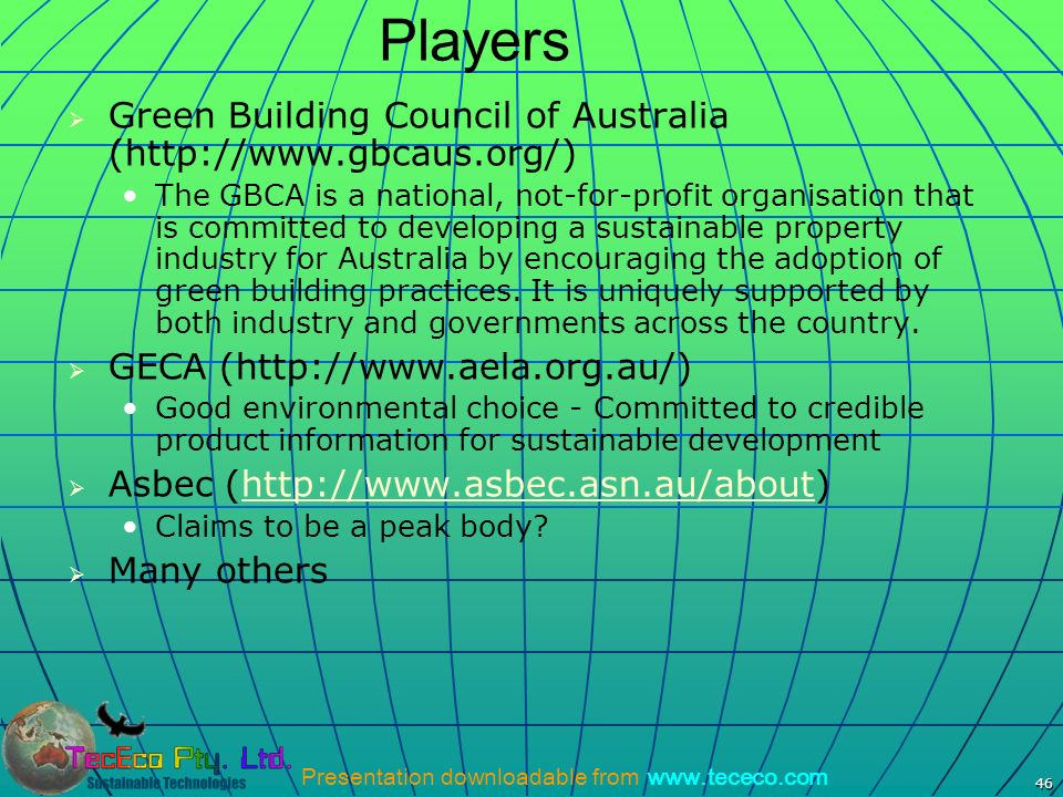 Players Green Building Council of Australia (