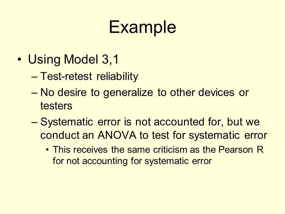 Example Using Model 3,1 Test-retest reliability