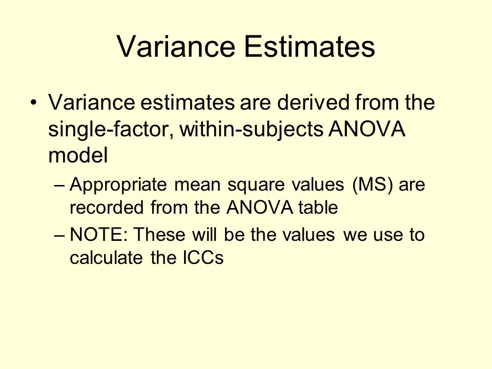 Variance Estimates Variance estimates are derived from the single-factor, within-subjects ANOVA model.