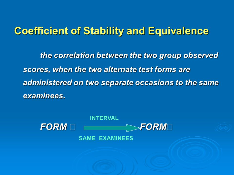 Coefficient of Stability and Equivalence