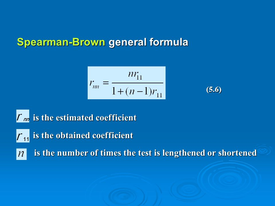 Spearman-Brown general formula