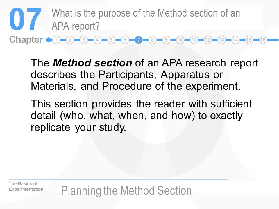 What is the purpose of the Method section of an APA report