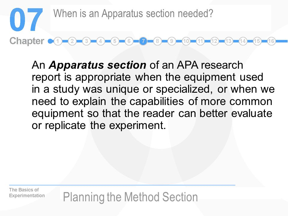 When is an Apparatus section needed