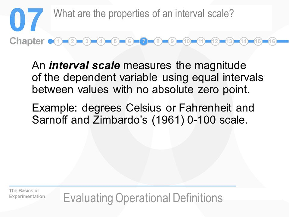 What are the properties of an interval scale
