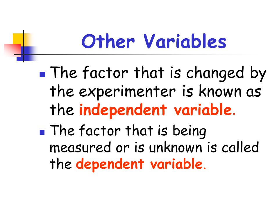 Other Variables The factor that is changed by the experimenter is known as the independent variable.