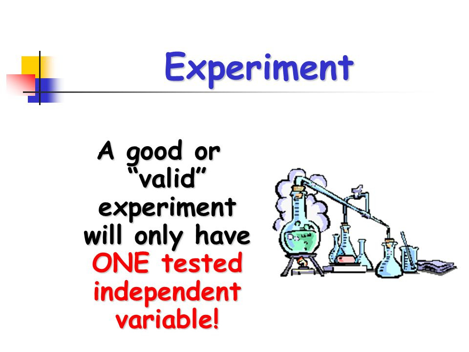 Experiment A good or valid experiment will only have ONE tested independent variable!