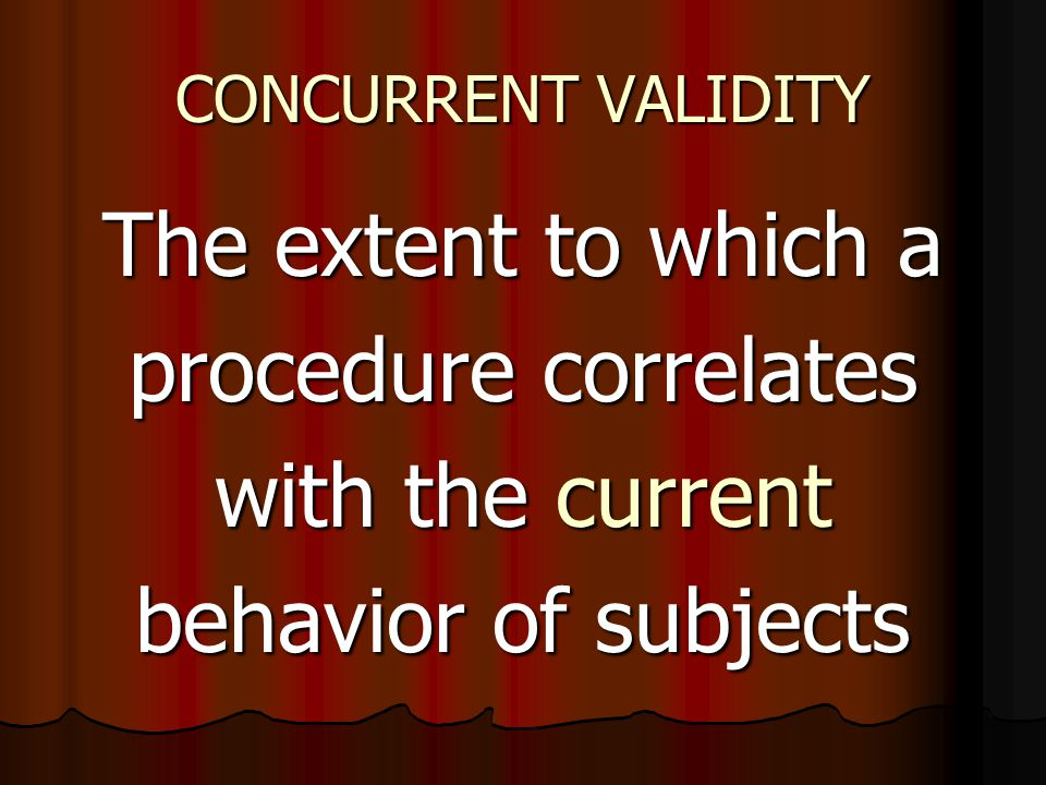 The extent to which a procedure correlates with the current