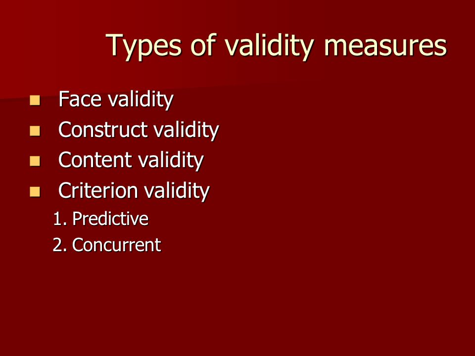 Types of validity measures