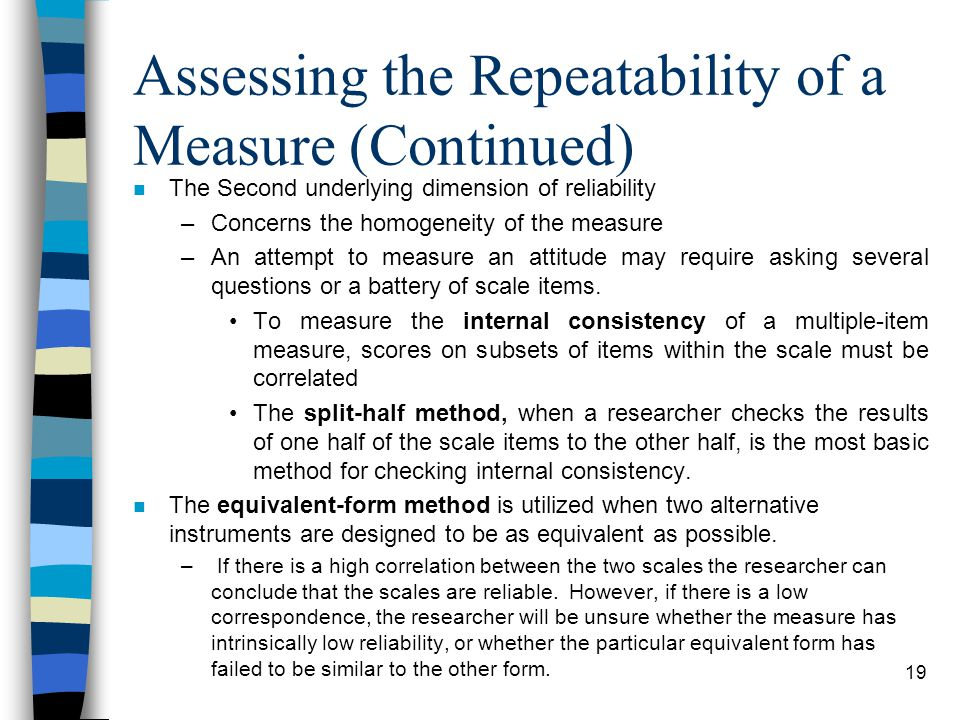 Assessing the Repeatability of a Measure (Continued)