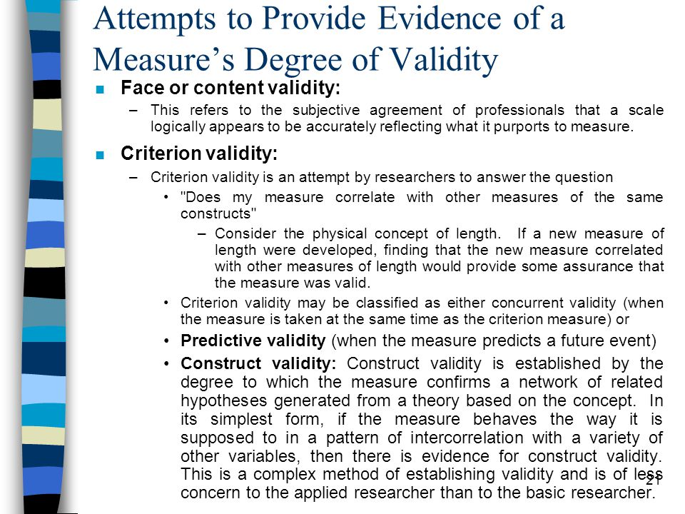 Attempts to Provide Evidence of a Measure's Degree of Validity