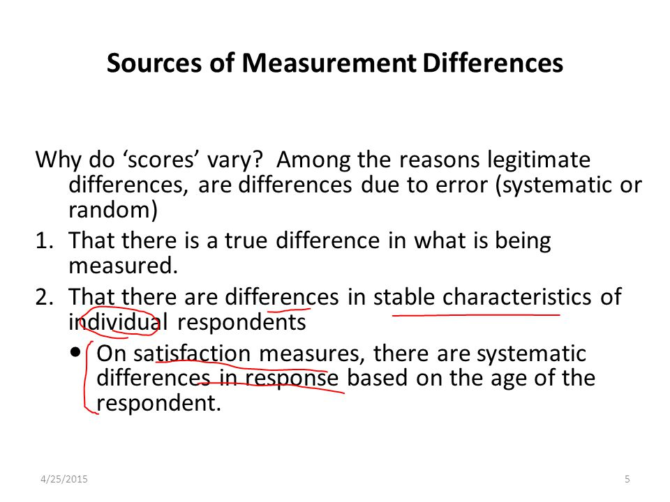 Sources of Measurement Differences