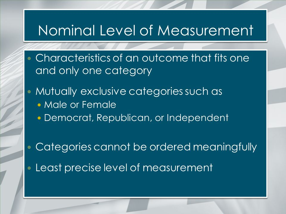 Nominal Level of Measurement