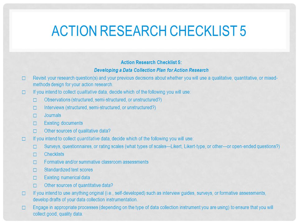 Action research checklist 5